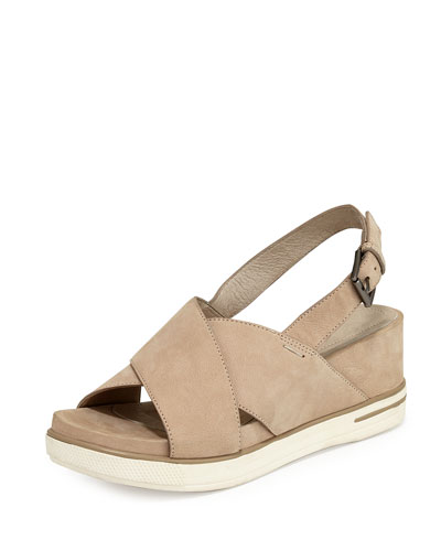 Good Crisscross Wedge Sandal, Barley