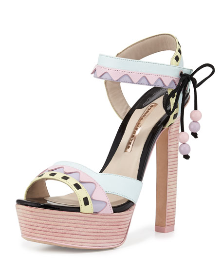 Sophia Webster Riko Pastel Platform Sandal, Pink/Aqua