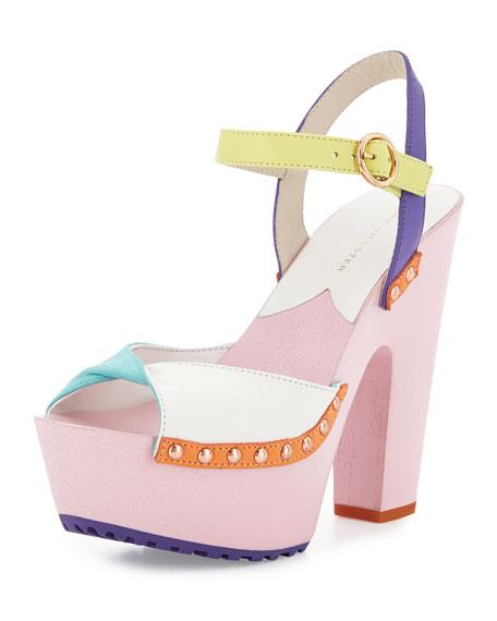 Sophia Webster Bobbi Colorblock Twist Clog Sandal, Aqua
