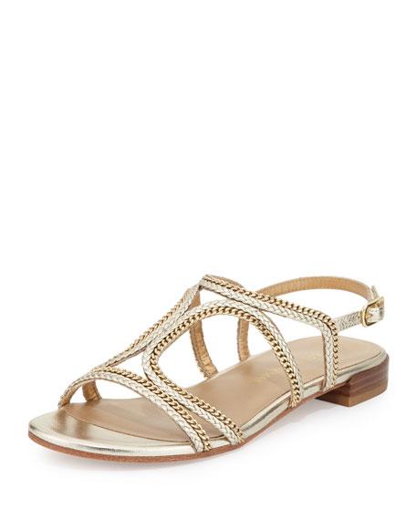 Stuart WeitzmanSamoa Chain Strappy Flat Sandal, Cava