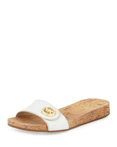 MICHAEL Michael Kors Lee Leather Slide Sandal, Optic White