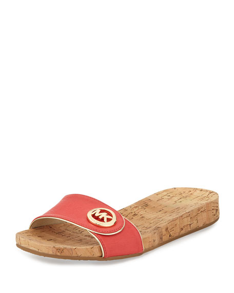 MICHAEL Michael Kors Lee Leather Slide Sandal, Watermelon