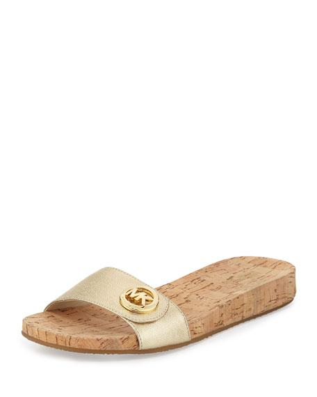 MICHAEL Michael Kors Lee Leather Slide Sandal, Pale Gold