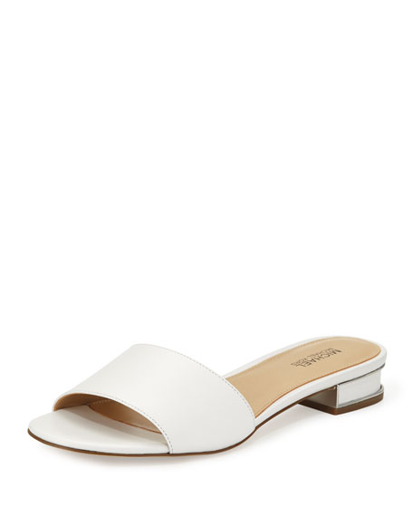 MICHAEL Michael Kors Joy Leather Slide Sandal, Optic White
