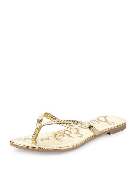 Sam Edelman Oliver Flat Snake-Embossed Thong Sandal, Gold