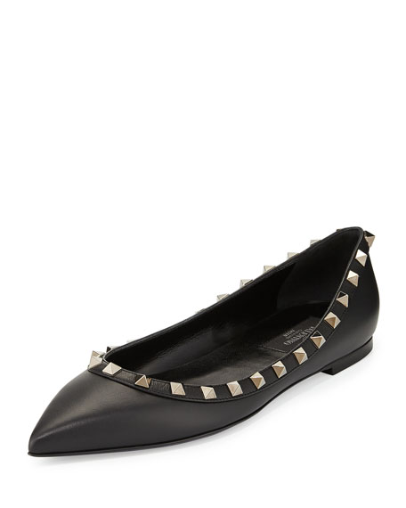 Valentino Noir Rockstud Leather Ballerina Flat, Black