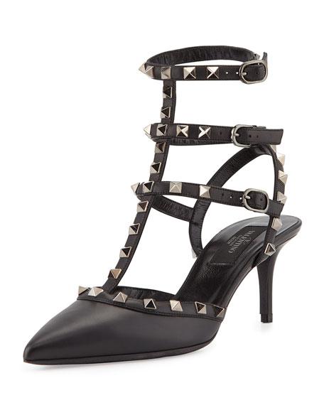Valentino Noir Rockstud Mid-Heel Slingback Pump, Black