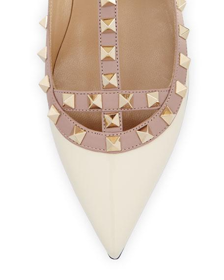 Rockstud Patent Caged Ballerina Flat, Ivory/Poudre