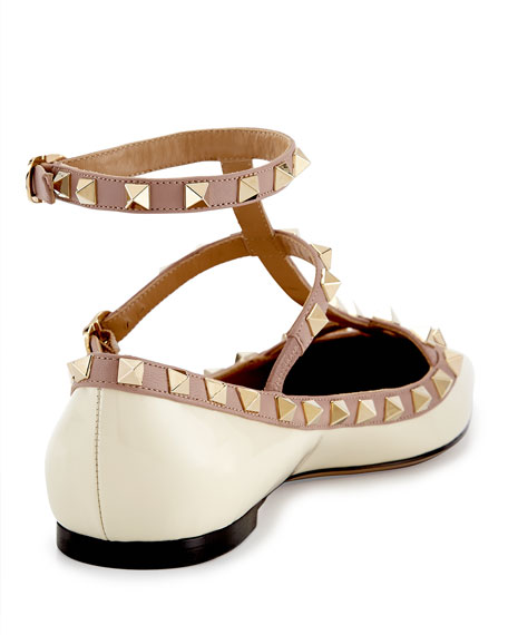 Rockstud Patent Caged Ballet Flat, Ivory/Poudre