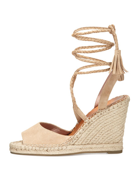 Joie Phyllis Suede Lace Up Wedge Espadrille Sandal Buff