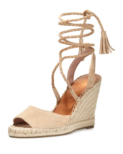Phyllis Suede Lace-Up Wedge Espadrille Sandal, Buff