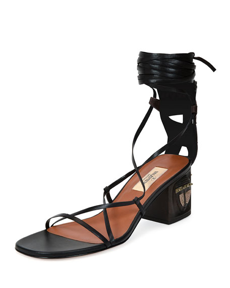 Valentino Mask-Heel Lace-Up Leather Sandal, Black/Brown (Nero/Ebano)