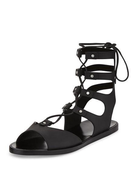 Vince Niva Leather Lace-Up Flat Gladiator Sandal, Black