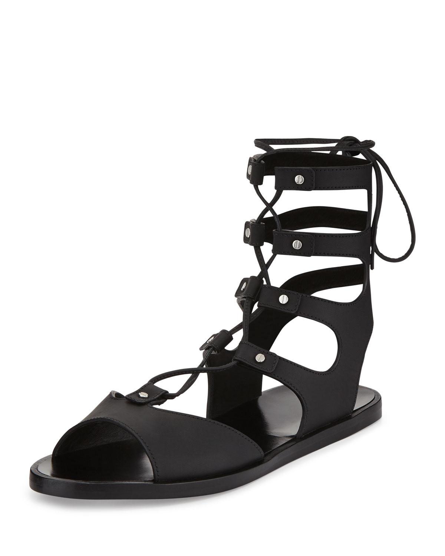 140cdae639d Vince Niva Leather Lace-Up Flat Gladiator Sandal