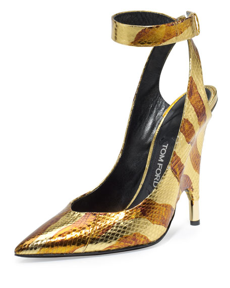 TOM FORD Watersnake Ankle-Wrap Pump, Gold/Brown