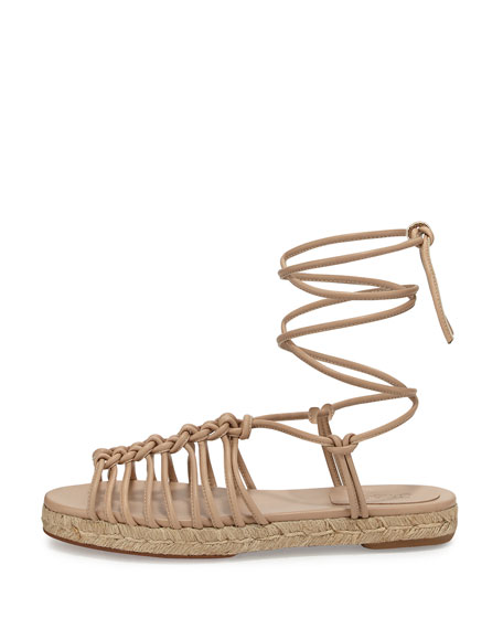 Knotted Ankle-Wrap Flat Espadrille Sandal, Fawn