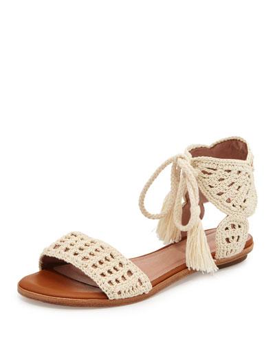 Jolee Crochet Flat Sandal, Natural