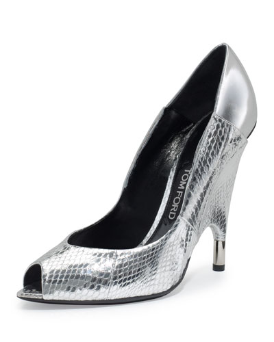 Metallic Watersnake Peep-Toe Pump, Silver