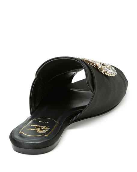 Strass-Buckle Satin Slide Sandal, Black