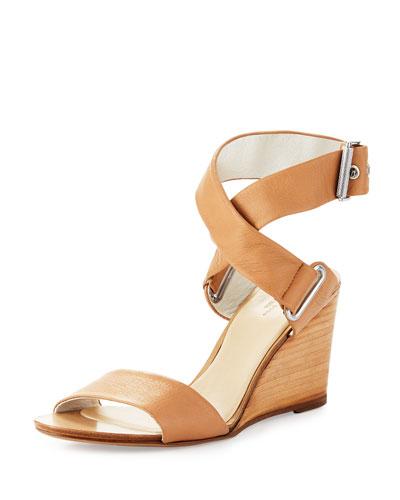 Damien Leather Wedge Sandal, Nude