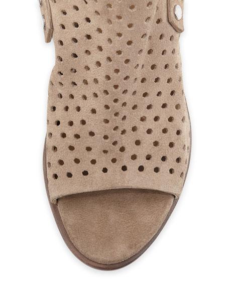 Wyatt Perforated Mid-Heel City Sandal, Warm Gray