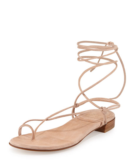 Stuart Weitzman Nieta Suede Lace-Up Flat Sandal, Bisque
