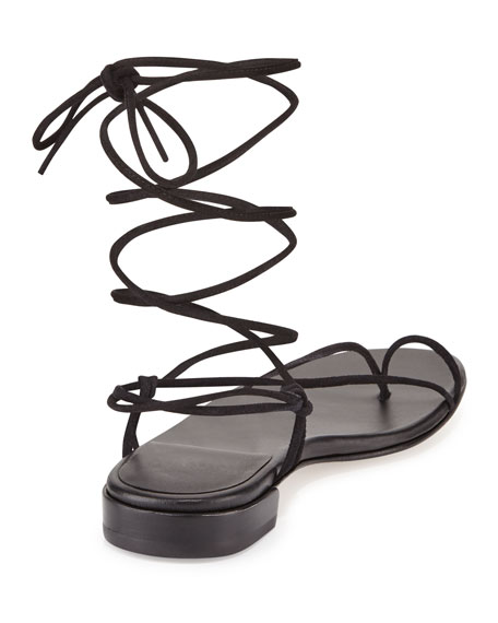 Nieta Suede Lace-Up Flat Sandal, Black