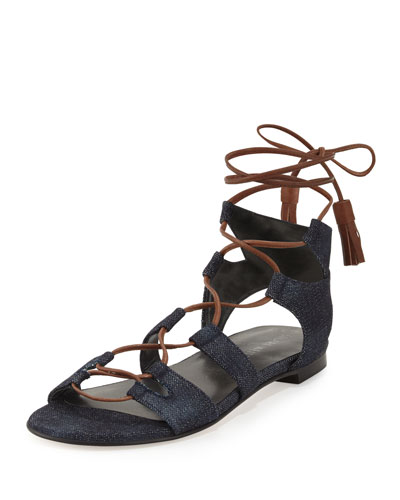 Romanflat Denim Flat Gladiator Sandal, Navy