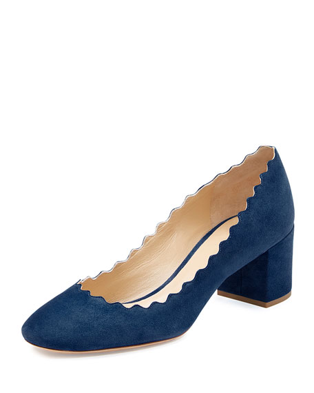 Chloe Scalloped Suede Ballerina Pump, Baltico