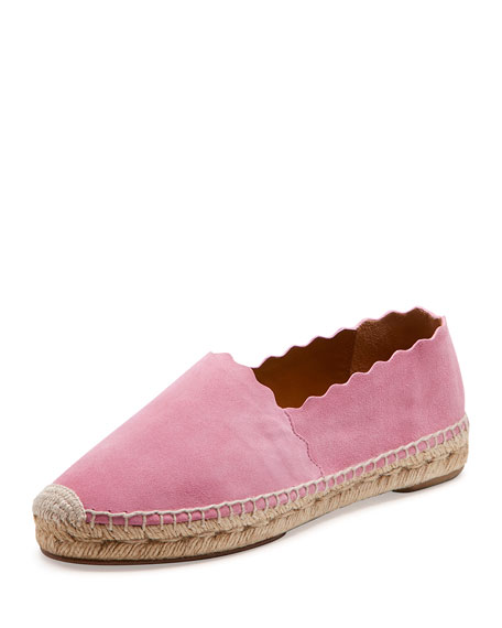 Chloe Scalloped Suede Espadrille Flat, Pink