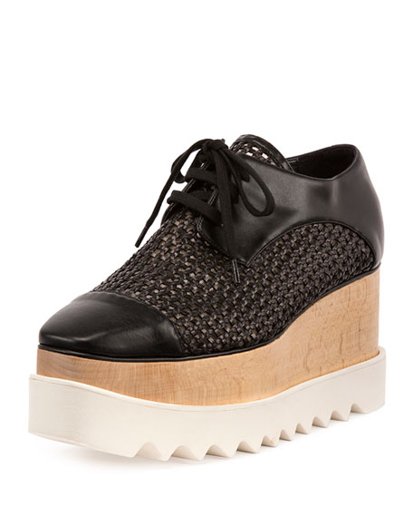 Stella McCartney Elyse Woven Lace-Up Platform Sneaker, Black
