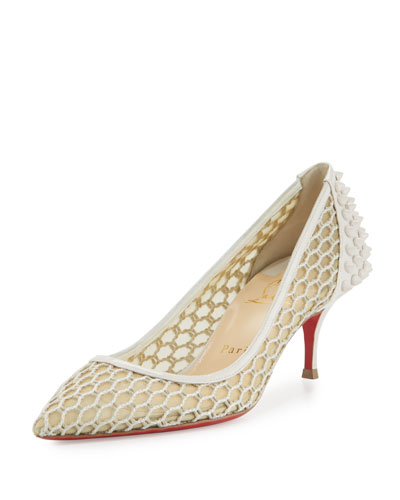 Guni Mesh Spike 55mm Red Sole Pump, Beige/White Ivory