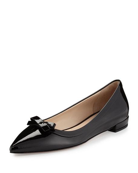 Prada Vernice Pointed-Toe Bow Skimmer Flat, Black (Nero)