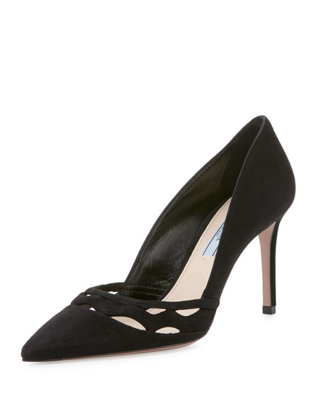 Wavy-Cut Suede Pump, Black (Nero)