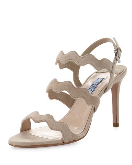 Prada Suede Wavy-Strap Sandal, Quarzo