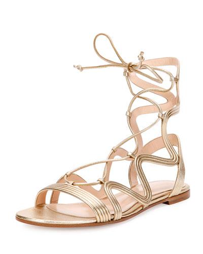 Hydra Wavy Leather Flat Lace-Up Sandal, Metallic