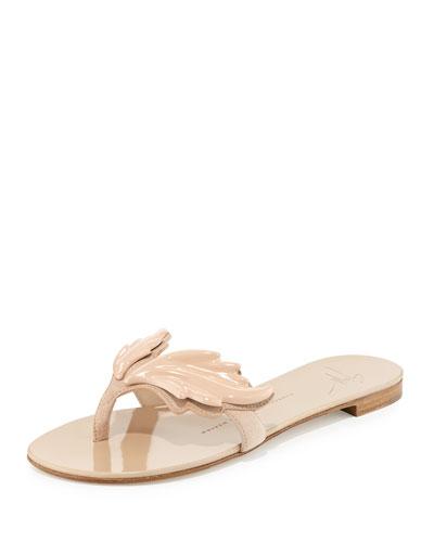 Flame Suede Flat Thong Sandal, Fondontina