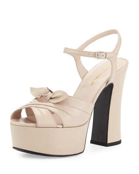 Saint Laurent Candy Leather Platform Sandal, Poudre