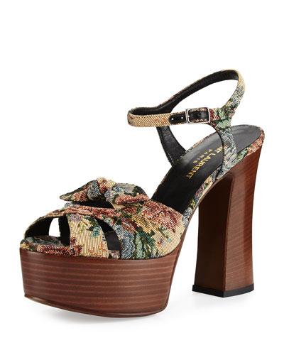 Candy Floral Jacquard Platform Sandal, Multicolor