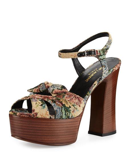 Saint Laurent Candy Floral Jacquard Platform Sandal, Multicolor