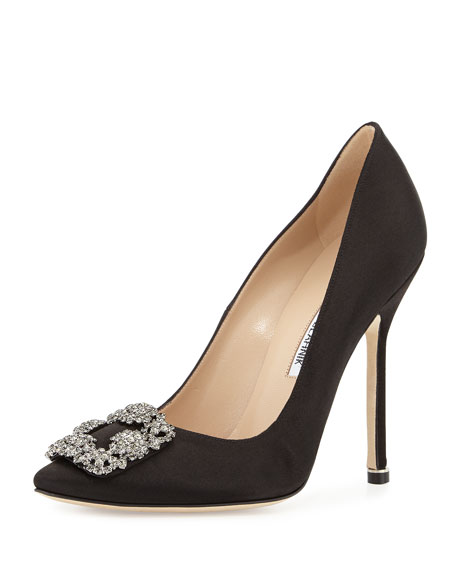 Manolo Blahnik Hangisi Crystal-Buckle Satin 115mm Pump, Black
