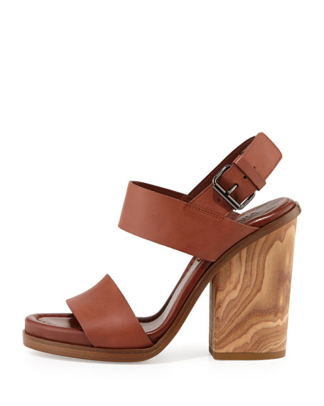 Haley Leather Two-Band Wooden Sandal, Whiskey