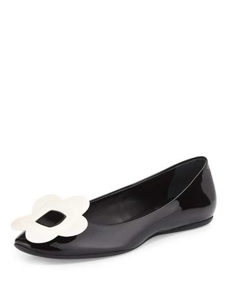 Roger Vivier Flower Patent Ballerina Flat, Black/Off White
