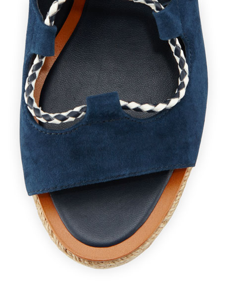 Positano Suede Lace-Up Sandal, Bright Navy