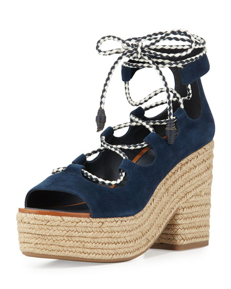 Tory Burch Positano Suede Lace-Up Sandal, Bright Navy