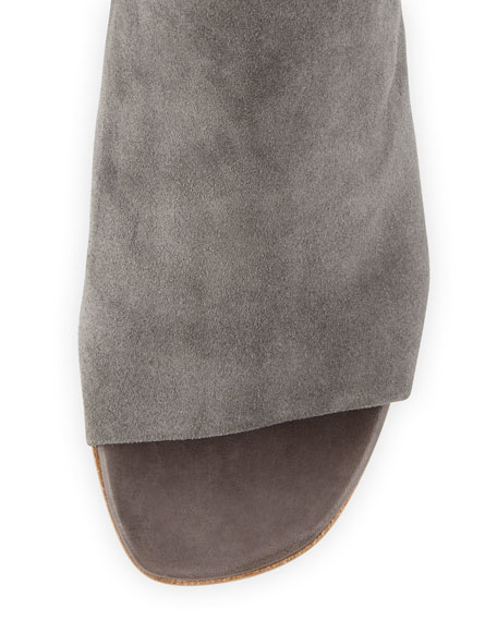 Natalina Suede Ankle-Tie Sandal, Carbone