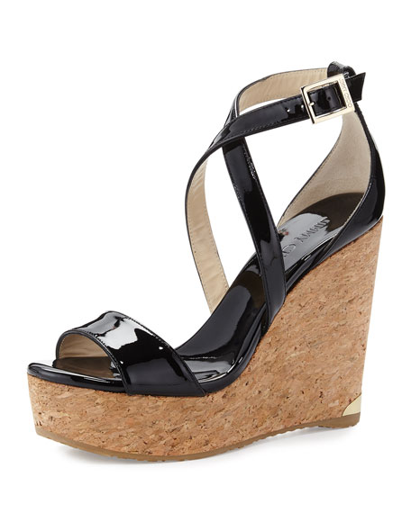 Jimmy Choo Portia Crisscross Platform Wedge Sandal, Black