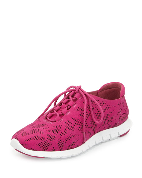 Cole Haan ZeroGrand Perforated Leather Sneaker, Fuchsia