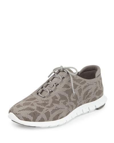 ZeroGrand Perforated Leather Sneaker, Ironstone