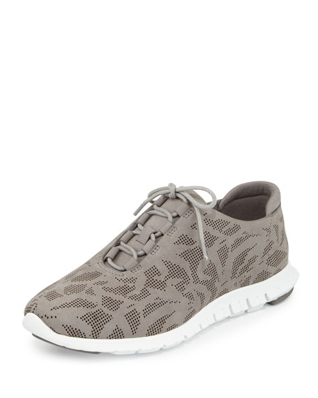 Cole Haan ZeroGrand Perforated Leather Sneaker, Ironstone